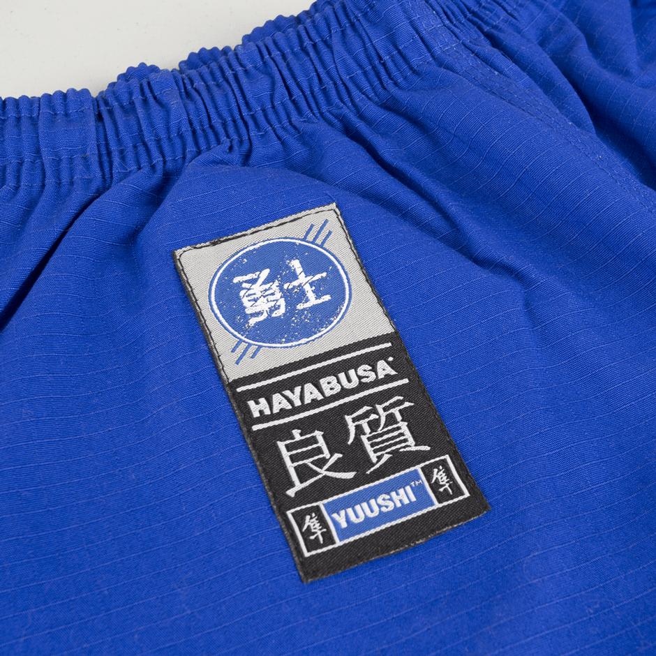 Hayabusa Blue Yuushi kids gi @ www.thejiujitsushop.com pants view.  Elastic waistband to make sure the gi pants last