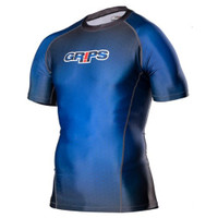 Grips Athletics Wasp Honeycomb Short Sleeve Rashguard Blue @ The Jiu Jitsu Shop