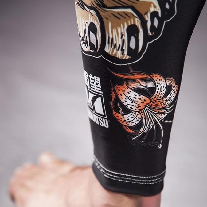Meerkatsu Midnight Tiger Grappling Tights zoom flower @ The Jiu Jitsu Shop