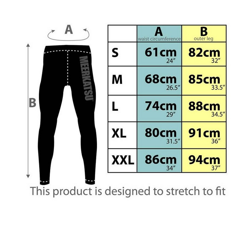 Meerkatsu Midnight Tiger Grappling Tights Sizing Chart @ The Jiu Jitsu Shop