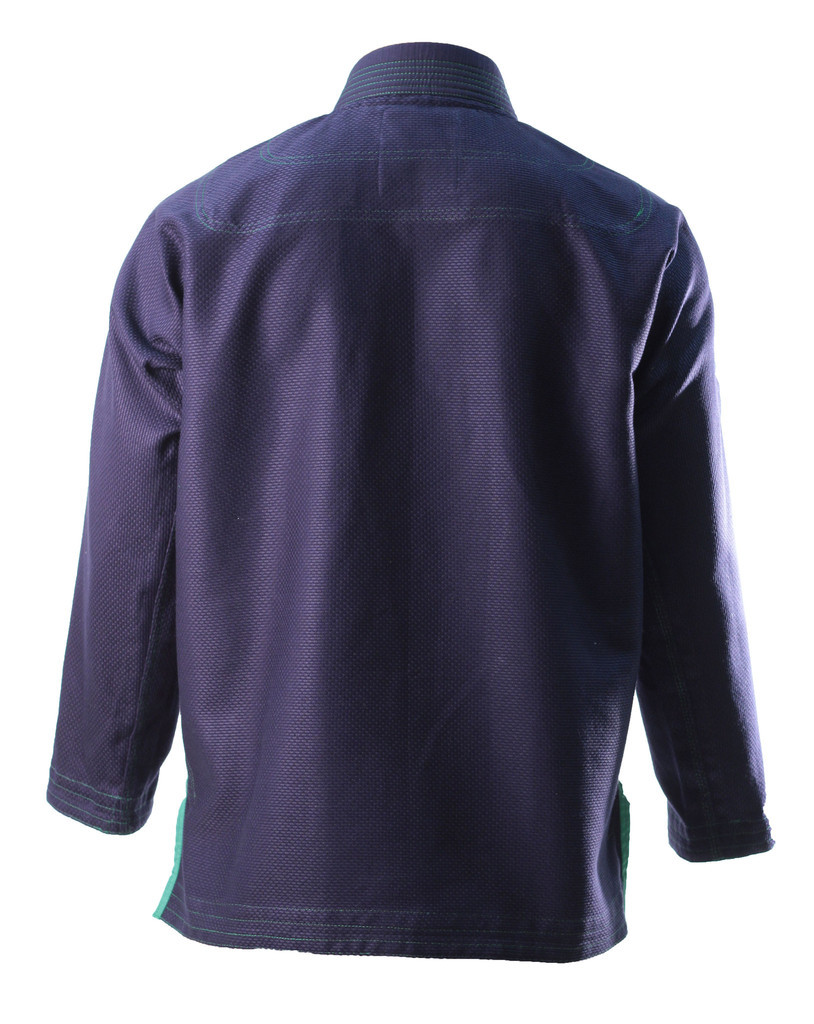 Inverted Gear Navy Blue Bamboo Jiu Jitsu Gi back of jacket @ www.thejiujitsushop.com