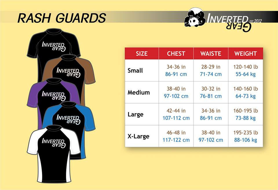 Inverted Gear Long Sleeve Ranked Rashguard Sizing Chart @ www.thejiujitsushop.com - Make sure you grab the right ranked rashguard size with this simple to follow sizing chart from inverted gear.