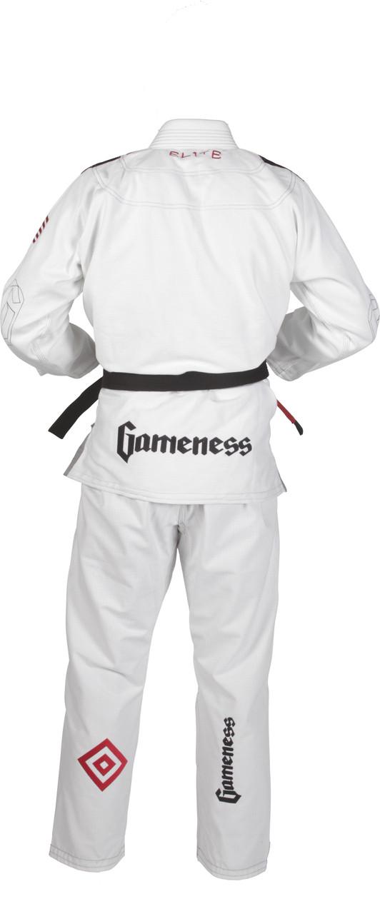 2015 Gameness Elite BJJ White back of Gi @ www.thejiujitsushop.com