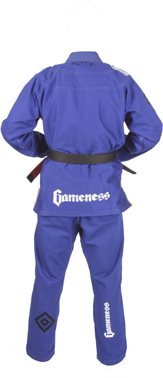 2015 Gameness Elite BJJ Blue back of Gi @ www.thejiujitsushop.com