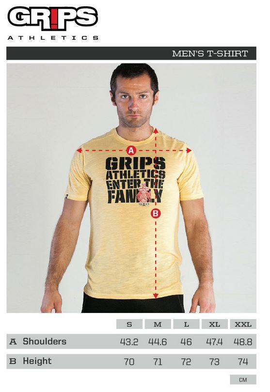 Grips Athletics Baseline Tshirt Sizing Chart