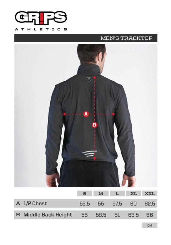 Grips Athletics Men's Chillout Black Track jacket sizing chart , @ www.thejiujitsushop.com