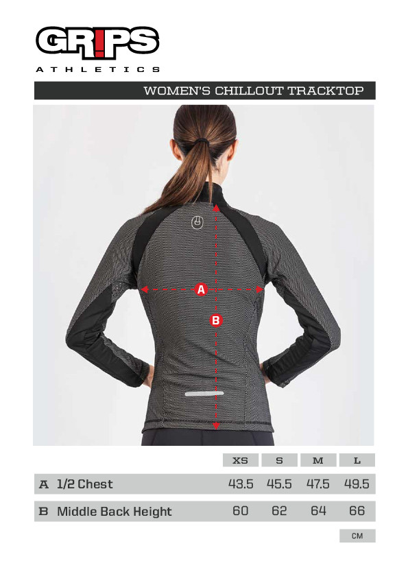 Grips Athletics Women's Chill Out Tracktop Sizing Chart .  Comfortable Women's tracktop jackets.  www.thejiujitsushop.com