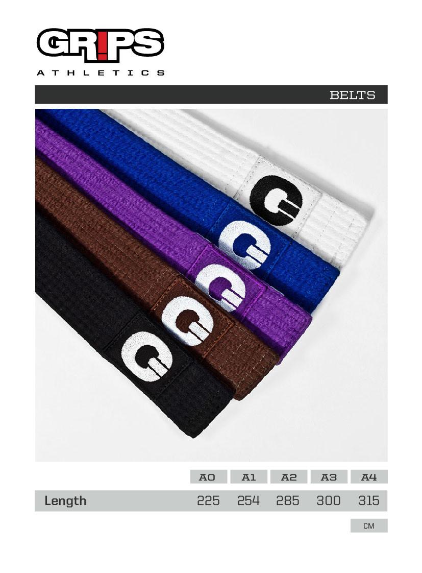 Grips Athletics Brazilian Jiu Jitsu Belts sizing Chart @ www.thejiujitsushop.com.  Super soft and durable belt that you will love and be proud of.