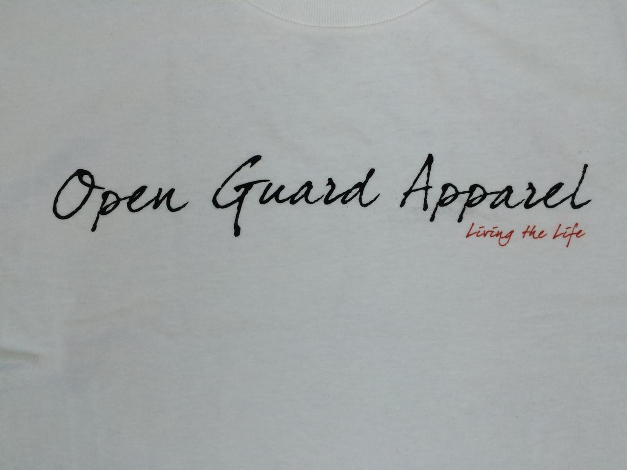 White open guard apparel Shaka Shirt Zoom in at www.thejiujitsushop.com
