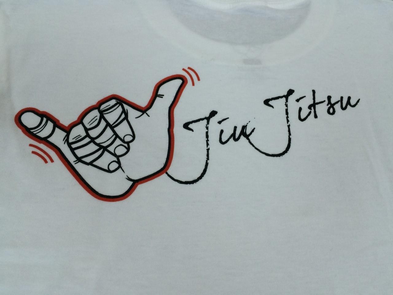 zoom in  on White Back of OGA Shaka Tshirt @ www.thejiujitsushop.com
