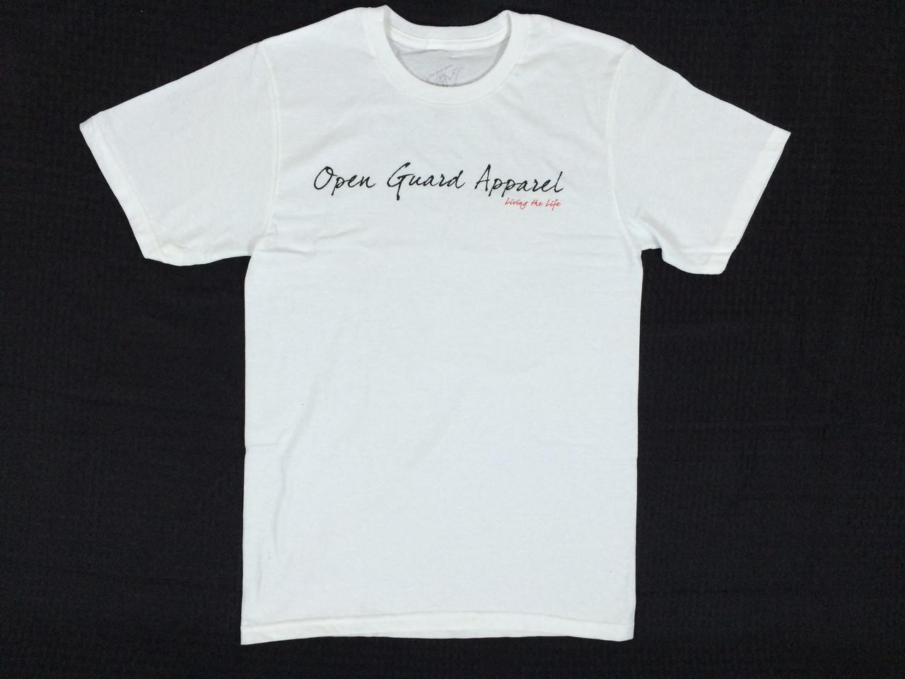 OGA Open Guard Apparel Shaka T-shirt white front.  @ www.thejiujitsushop.com
