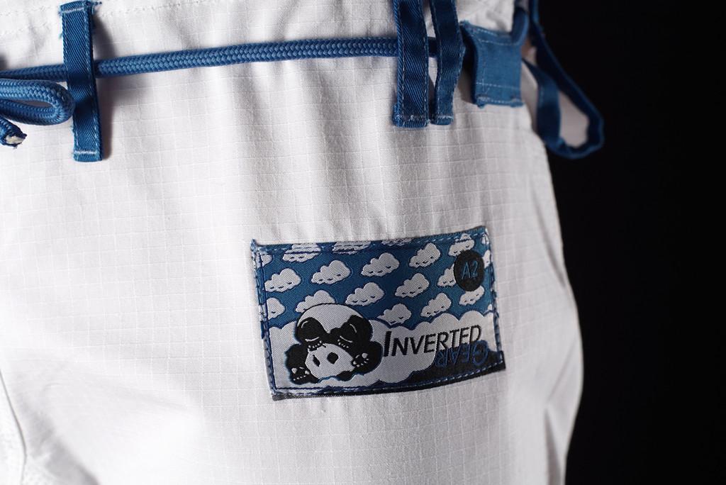 Inverted Gear White Light Pearl Weave Gi - The Jiu Jitsu Shop @ www.thejiujitsushop.com   Zoom in on the woven patch of pants