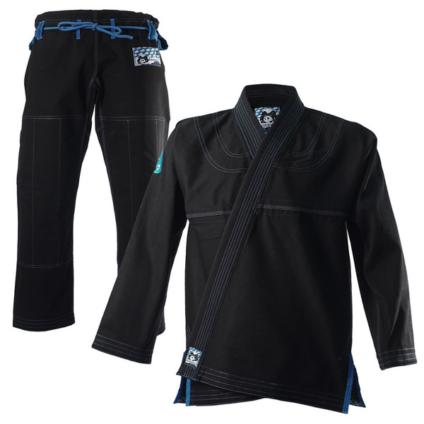 Inverted Gear Black Light Pearl Weave Gi Skies with teal - The Jiu Jitsu Shop @ http://www.thejiujitsushop.com  Front black and teal skies jacket plus pants overview