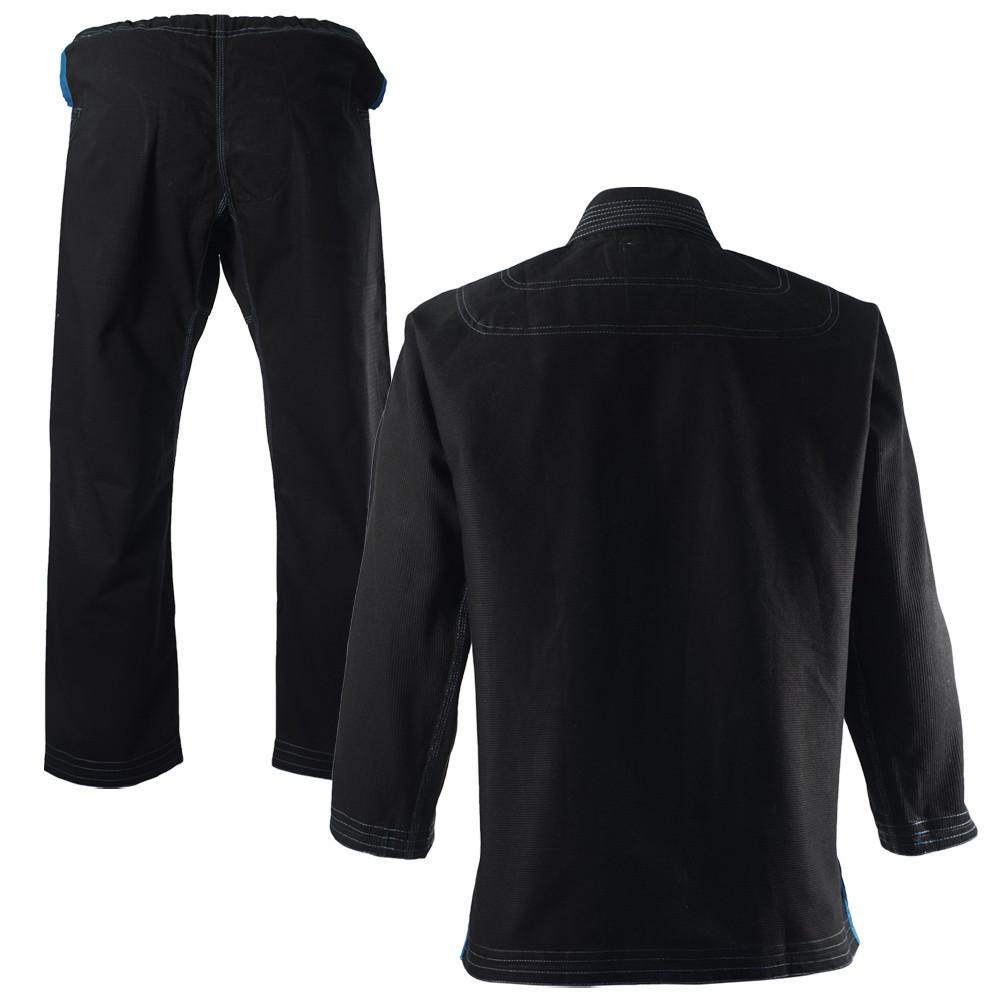 Inverted Gear Black Light Pearl Weave Gi Skies with teal - The Jiu Jitsu Shop @ http://www.thejiujitsushop.com  Back of gi jacket and pants