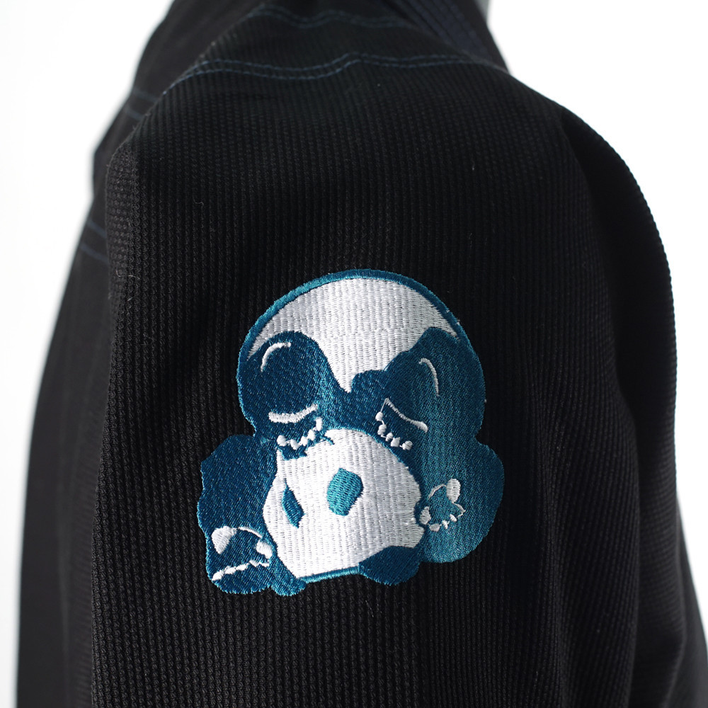 Inverted Gear Black Light Pearl Weave Gi Skies with teal - The Jiu Jitsu Shop @ http://www.thejiujitsushop.com  Inverted Gear logo fully embroidered into the jacket