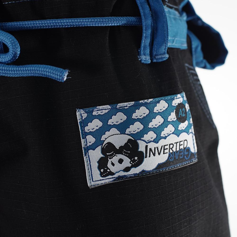 Inverted Gear Black Light Pearl Weave Gi Skies with teal - The Jiu Jitsu Shop @ http://www.thejiujitsushop.com  Woven patch on pants