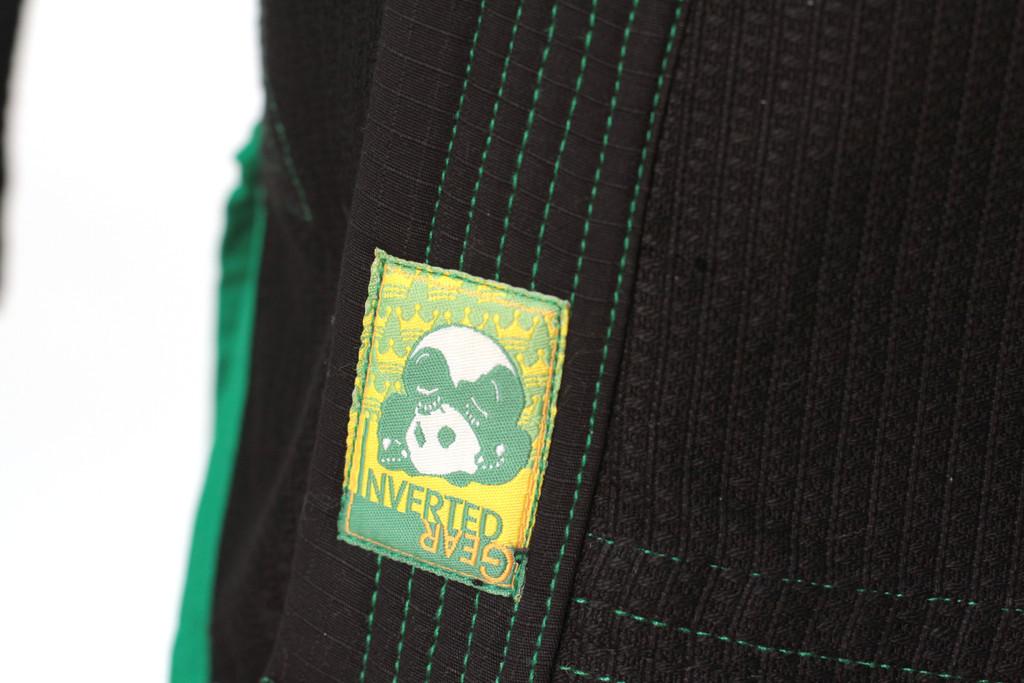 Inverted Gear Black Gold Weave Panda Gi @ The Jiu Jitsu Shop http://www.thejiujitsushop.com your one stop Jiu Jitsu Shop.    Lapel tip of gi