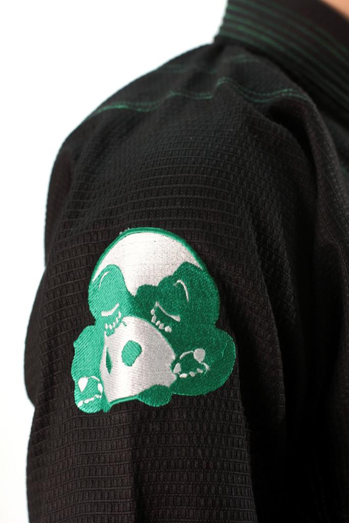 Inverted Gear Black Gold Weave Panda Gi @ The Jiu Jitsu Shop http://www.thejiujitsushop.com your one stop Jiu Jitsu Shop.    Shoulder embroidery of panda gi