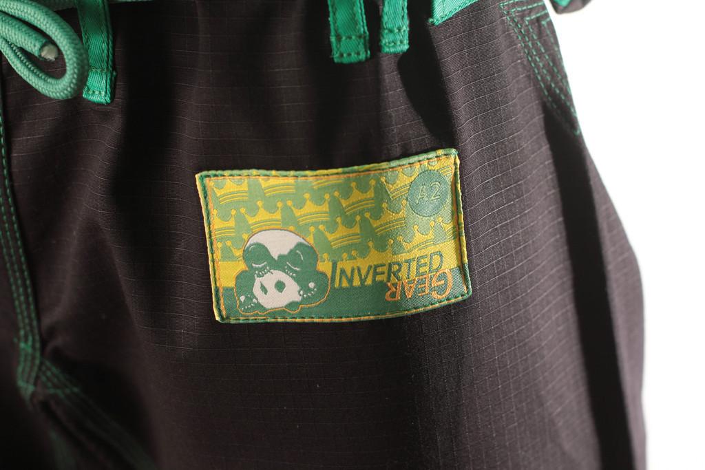 Inverted Gear Black Gold Weave Panda Gi @ The Jiu Jitsu Shop http://www.thejiujitsushop.com your one stop Jiu Jitsu Shop.    Woven patch on pants