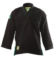 Inverted Gear Black Gold Weave Panda Gi @ The Jiu Jitsu Shop http://www.thejiujitsushop.com your one stop Jiu Jitsu Shop.    Front of Jacket black and light gree.