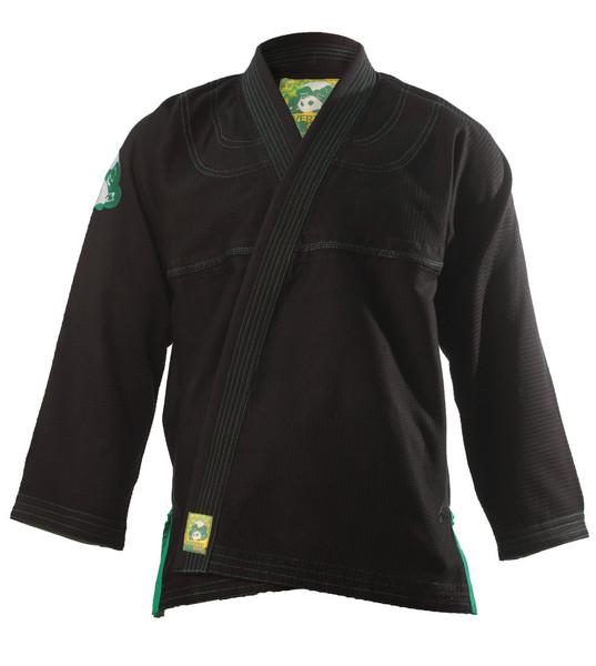 Inverted Gear Black Gold Weave Panda Gi @ The Jiu Jitsu Shop http://www.thejiujitsushop.com your one stop Jiu Jitsu Shop.    Front of Jacket black and light gree.