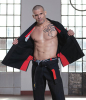 Grips Primero 3.0 Black inside of the jacket red inner lining at www.thejiujitsushop.com The Jiu Jitsu Shop for all your jiu jitsu needs.