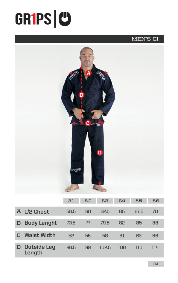 Grips Primero 3.0 Blue gi Sizing Chart at www.thejiujitsushop.com The Jiu Jitsu Shop for all your jiu jitsu needs.