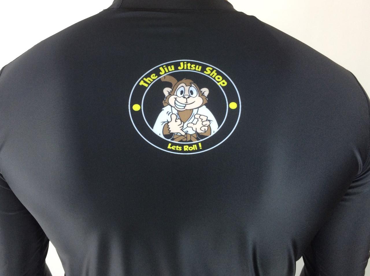 "The Jiu Jitsu Shop's ""Essentials"" Long Sleeve Rashguard, featuring Rocky the Monkey. Exclusively at www.thejiujitsushop.com. Free domestic shipping storewide."