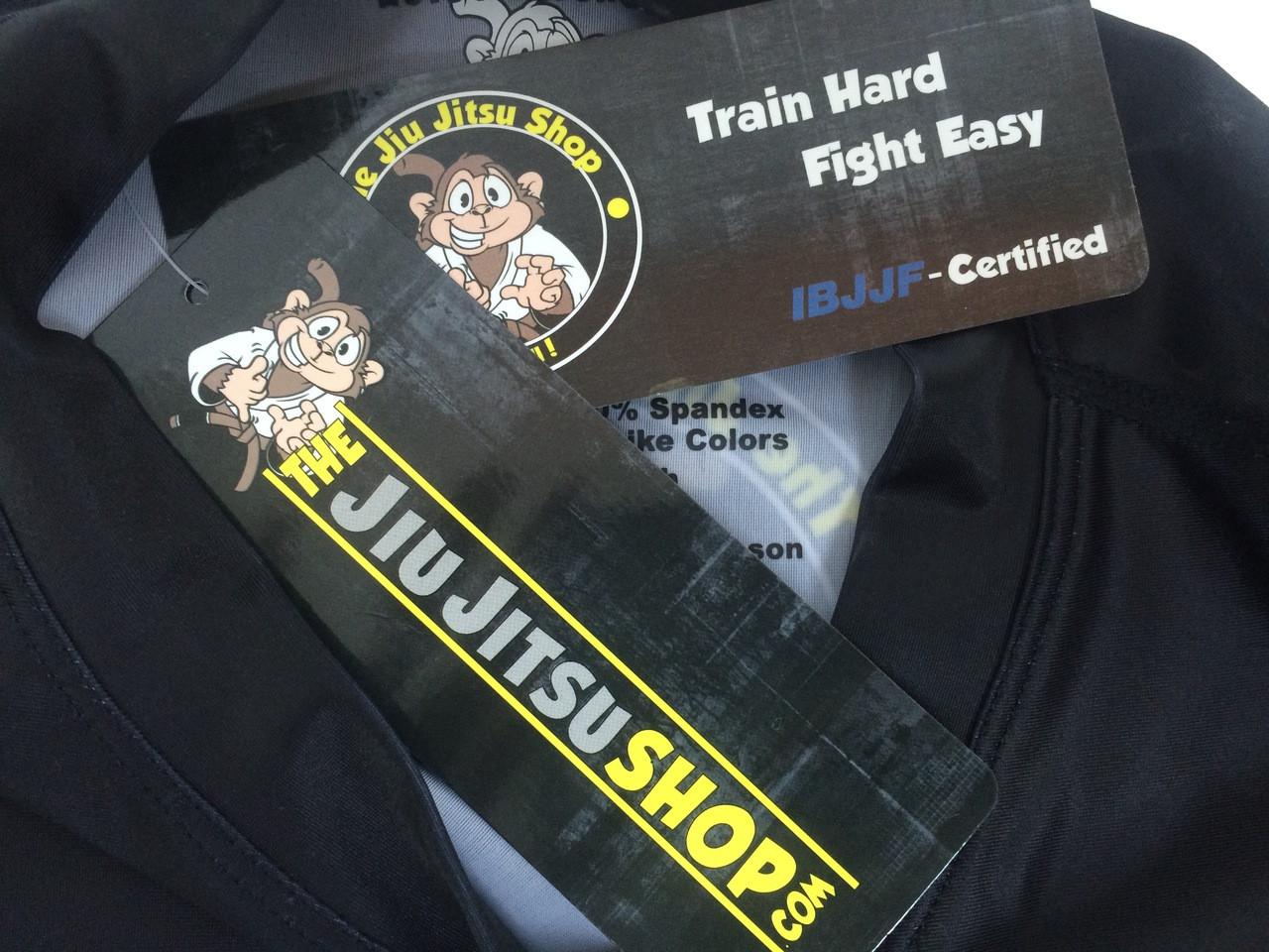 "The Jiu Jitsu Shop's ""Essentials"" Long Sleeve Rashguard, featuring our buddy Rocky the Monkey. Exclusively by www.thejiujitsushop.com. Free domestic shipping storewide."