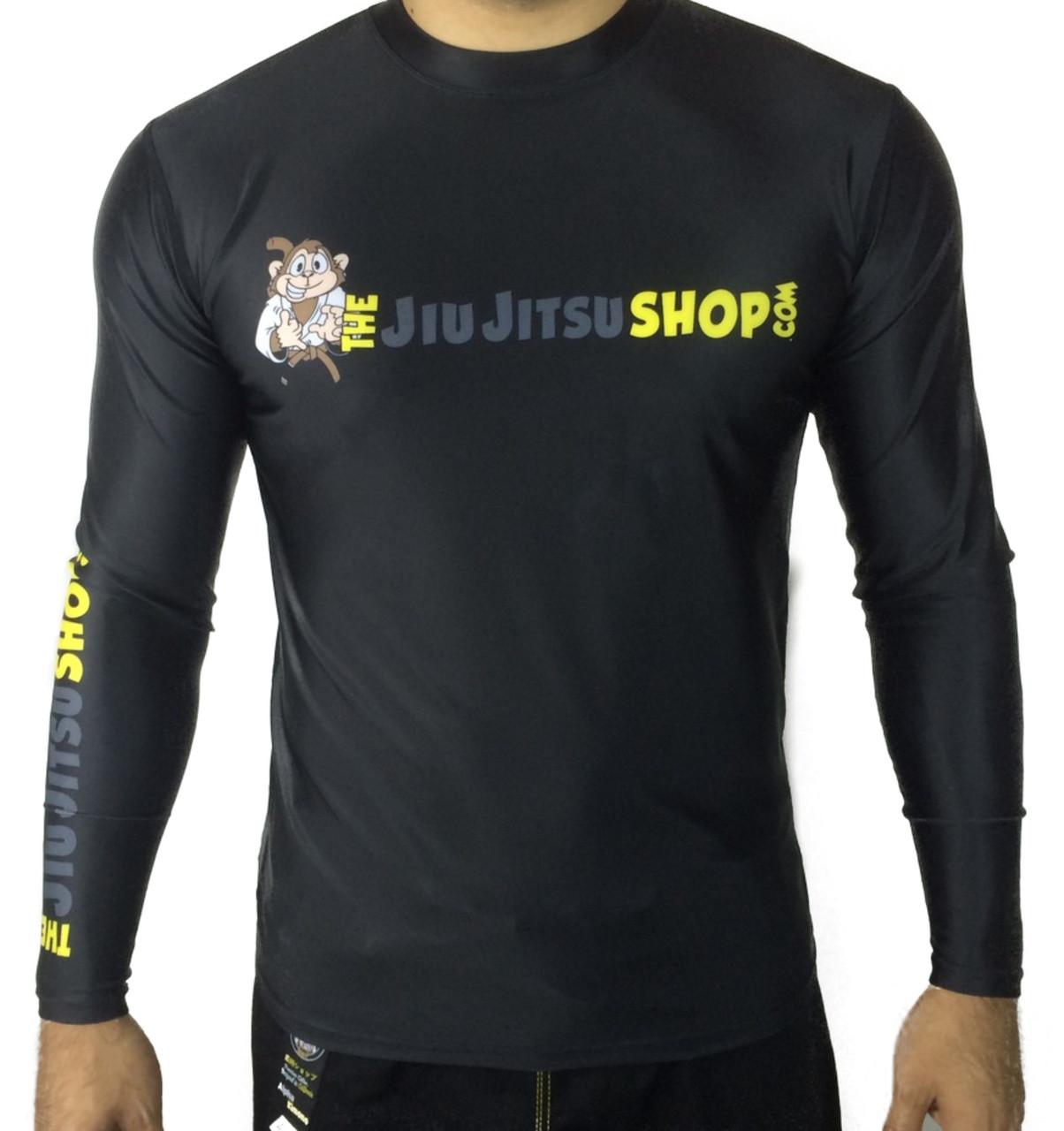 "The Jiu Jitsu Shop's ""Essentials"" Long Sleeve Rashguard, featuring our buddy Rocky the Monkey. Exclusively at www.thejiujitsushop.com. Free domestic shipping storewide."