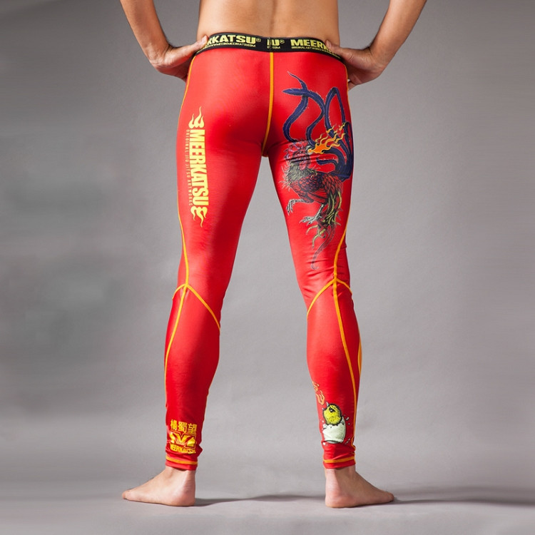c72a83a4d253c Depicting; Meerkatsu Fire Rooster Spats Grappling tights now available at  www.thejiujitsushop.com.