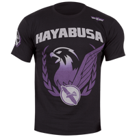 Hayabusa Falcon T-Shirt in Black and Purple at www.thejiujitsushop.com.  Leader of BJJ gear.  Top customer service.  Enjoy Complimentary shipping on all products at The Jiu Jitsu Shop