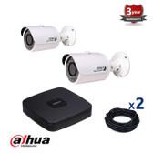 2 INDOOR/OUTDOOR DAHUA IP CAMERAS CCTV KIT, 3 MEGAPIXELS, POE, IR NIGHT VISION UP TO 30 METERS, 2CKD1320SP