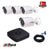 4 INDOOR/OUTDOOR DAHUA IP CAMERAS CCTV KIT, 3 MEGAPIXELS, POE, IR NIGHT VISION UP TO 30 METERS, 4CKD1320SP