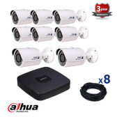8 INDOOR/OUTDOOR DAHUA IP CAMERAS CCTV KIT, 3 MEGAPIXELS, POE, IR NIGHT VISION UP TO 30 METERS, 8CKD1320SP