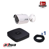 1 INDOOR/OUTDOOR DAHUA IP CAMERAS CCTV KIT, 3 MEGAPIXELS, POE, IR NIGHT VISION UP TO 30 METERS, 1CKD1320SP