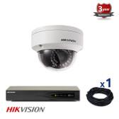 1 INDOOR/OUTDOOR IP HIKVISION DOME CAMERA CCTV KIT, 4 MEGAPIXELS, POE, IR NIGHT VISION UP TO 30 METERS, 1CKH2142