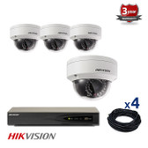 4 INDOOR/OUTDOOR IP HIKVISION DOME CAMERAS CCTV KIT, 4 MEGAPIXELS, POE, IR NIGHT VISION UP TO 30 METERS, 4CKH2142