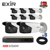 8 INDOOR/OUTDOOR IP HIKVISION BULLET CAMERAS CCTV KIT, 4 MEGAPIXELS, POE, EXIR NIGHT VISION UP TO 80 METERS, 8CKH2T42