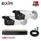 2 INDOOR/OUTDOOR IP HIKVISION BULLET CAMERAS CCTV KIT, 4 MEGAPIXELS, POE, EXIR NIGHT VISION UP TO 80 METERS, 2CKH2T42