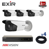 4 INDOOR/OUTDOOR IP HIKVISION BULLET CAMERAS CCTV KIT, 4 MEGAPIXELS, POE, EXIR NIGHT VISION UP TO 80 METERS, 4CKH2T42