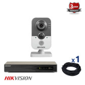 1 INDOOR IP HIKVISION CUBE CAMERA CCTV KIT, 3 MEGAPIXELS, POE, NIGHT VISION UP TO 10 METER, 1CKH2432