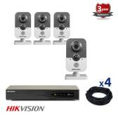 4 INDOOR IP HIKVISION CUBE CAMERAS CCTV KIT, 3 MEGAPIXELS, POE, NIGHT VISION UP TO 10 METER, 4CKH2432