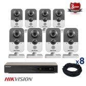 8 INDOOR IP HIKVISION CUBE CAMERAS CCTV KIT, 3 MEGAPIXELS, POE, NIGHT VISION UP TO 10 METER, 8CKH2432