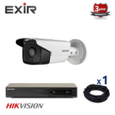 1 INDOOR/OUTDOOR IP HIKVISION BULLET CAMERA CCTV KIT, 4 MEGAPIXELS, POE, EXIR NIGHT VISION RANGE UP TO 80 METERS, 1CKH2T42