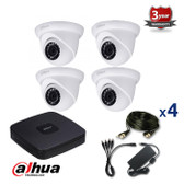 4 INDOOR/OUTDOOR 2.4 MEGAPIXELS DAHUA HD-CVI CAMERAS CCTV KIT, IR NIGHT VISION UP TO 30 METERS, HD-CVI2220M4, EU plug