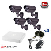 4 INDOOR/OUTDOOR ANALOG CAMERA CCTV KIT, 1000TVL, IR NIGHT VISION UP TO 40 METERS 4CKAIPO100C