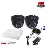 2 INDOOR/OUTDOOR DOME ANALOG CAMERAS CCTV KIT, 1000TVL, IR NIGHT VISION UP TO 30 METERS 2CKADIC100C