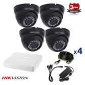 4 INDOOR/OUTDOOR DOME ANALOG CAMERAS CCTV KIT, 1000TVL, IR NIGHT VISION UP TO 30 METERS 4CKADIC100C