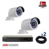 2 INDOOR/OUTDOOR IP HIKVISION CAMERAS CCTV KIT, 1.3 MEGAPIXELS, POE, IR NIGHT VISION UP TO 30 METERS, 2CKH2012